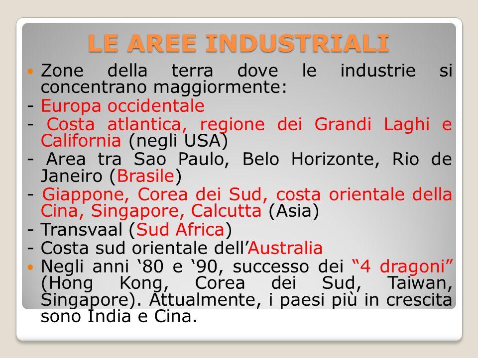LE AREE INDUSTRIALI Zone della terra dove le industrie si concentrano maggiormente: - Europa occidentale.