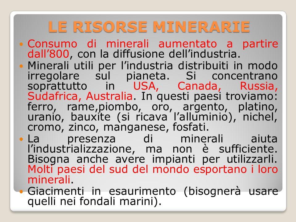 LE RISORSE MINERARIE Consumo di minerali aumentato a partire dall'800, con la diffusione dell'industria.