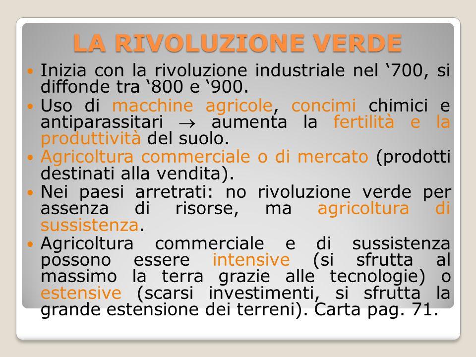 LA RIVOLUZIONE VERDE Inizia con la rivoluzione industriale nel '700, si diffonde tra '800 e '900.