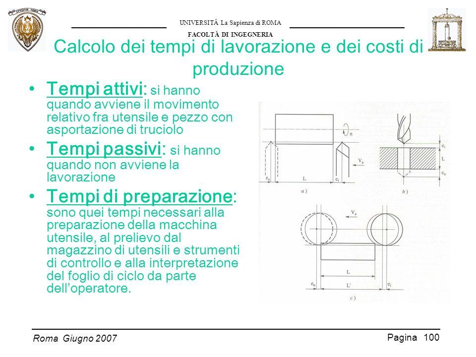 Calcolo dei tempi di lavorazione e dei costi di produzione
