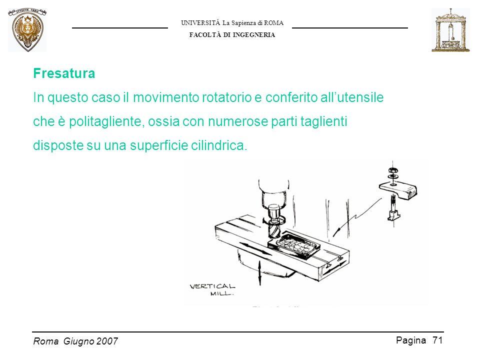 Fresatura In questo caso il movimento rotatorio e conferito all'utensile. che è politagliente, ossia con numerose parti taglienti.