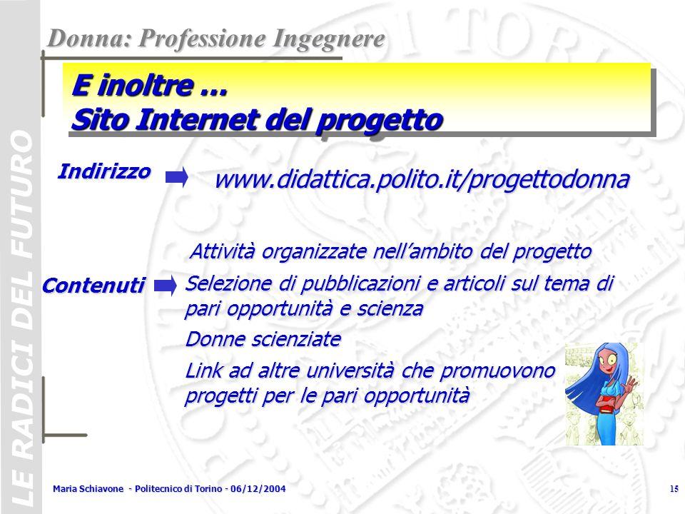 E inoltre … Sito Internet del progetto