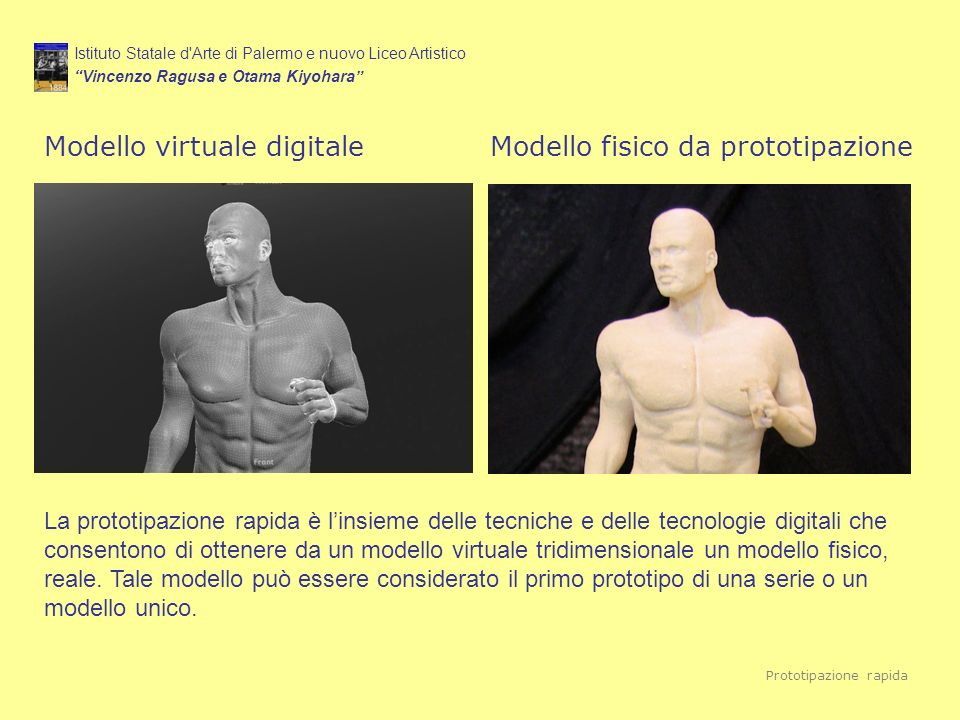 Modello virtuale digitale Modello fisico da prototipazione