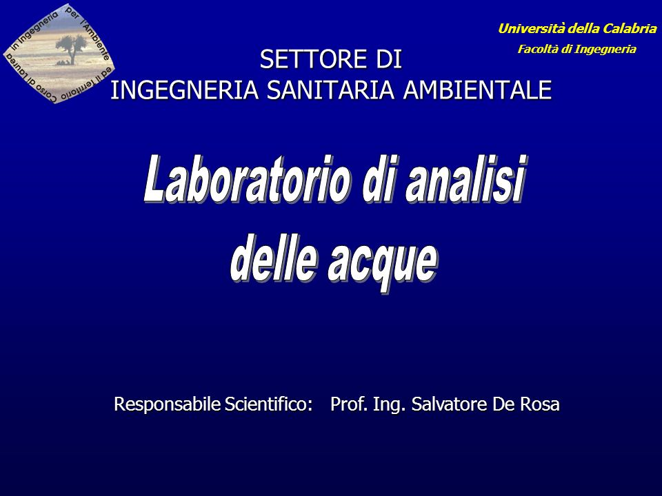 SETTORE DI INGEGNERIA SANITARIA AMBIENTALE
