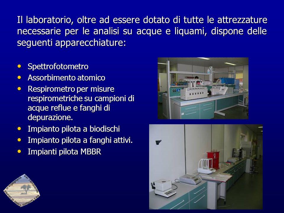 Il laboratorio, oltre ad essere dotato di tutte le attrezzature necessarie per le analisi su acque e liquami, dispone delle seguenti apparecchiature:
