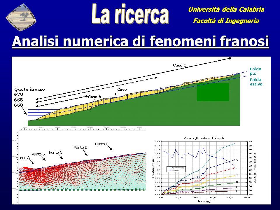 Università della Calabria Analisi numerica di fenomeni franosi