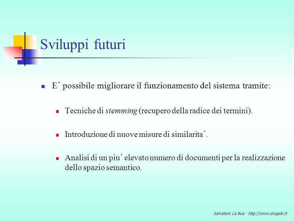 Sviluppi futuri E´ possibile migliorare il funzionamento del sistema tramite: Tecniche di stemming (recupero della radice dei termini).