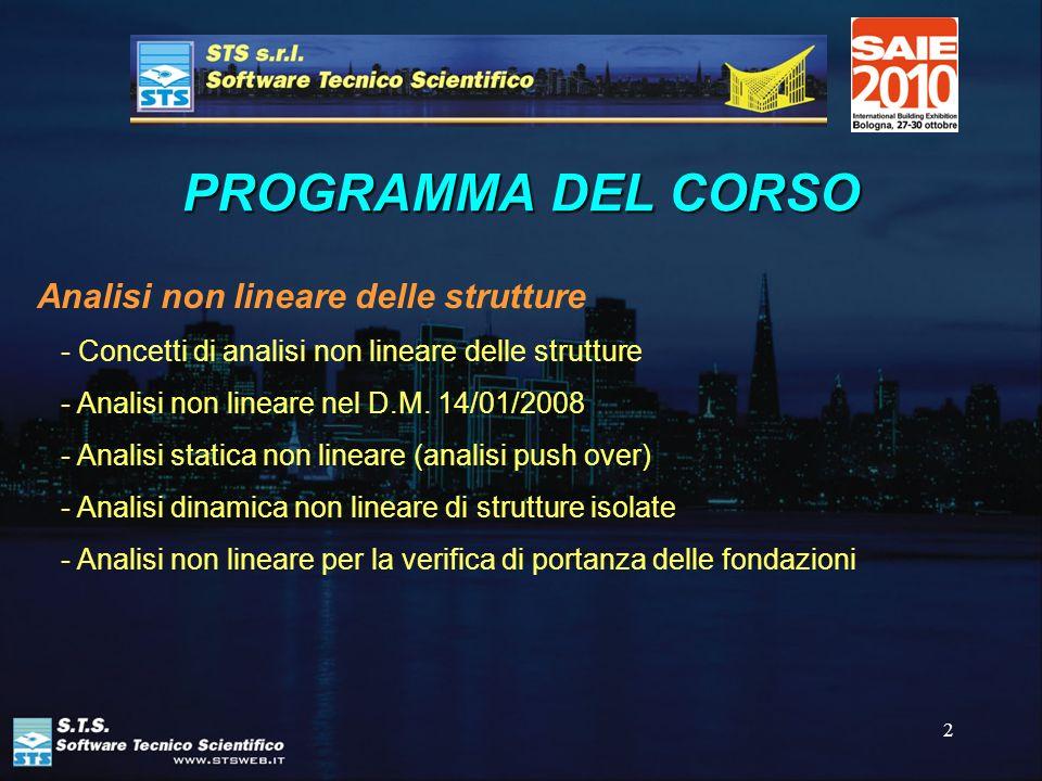 PROGRAMMA DEL CORSO Analisi non lineare delle strutture