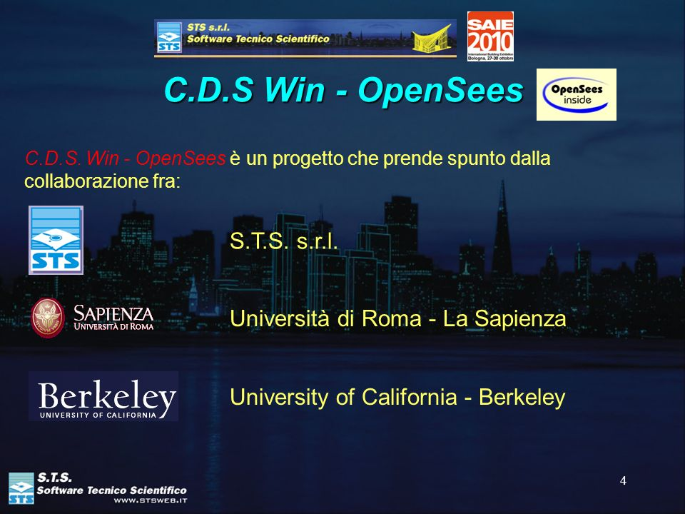 C.D.S Win - OpenSees S.T.S. s.r.l. Università di Roma - La Sapienza