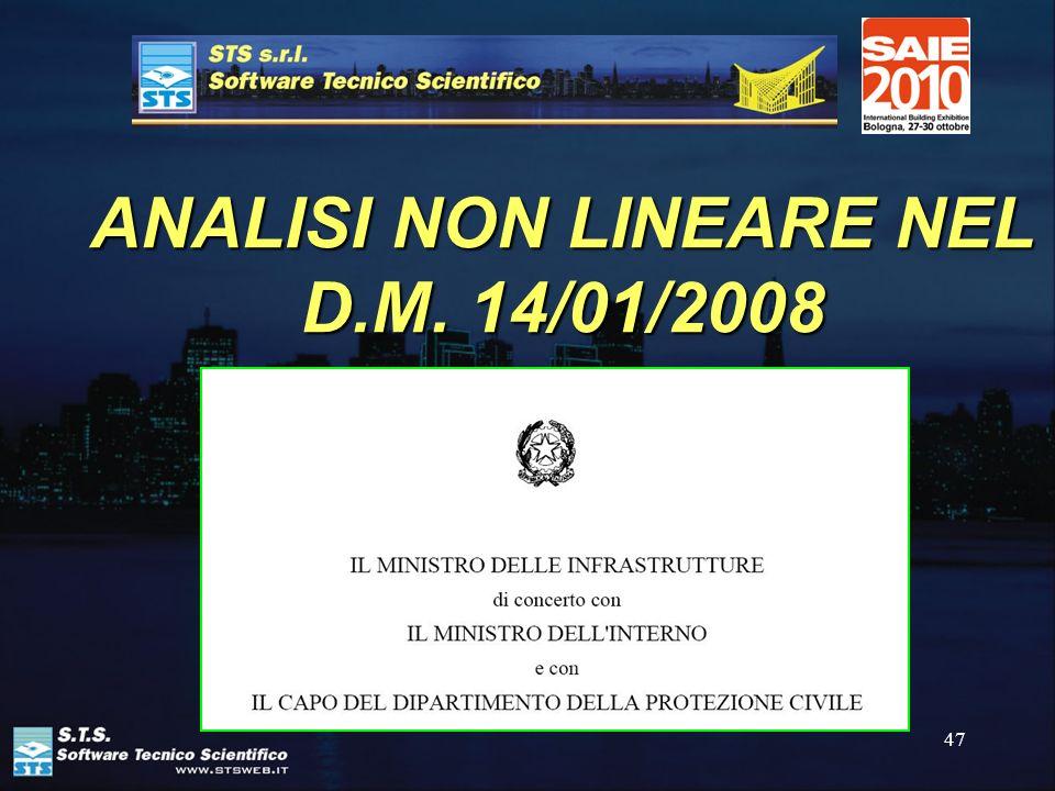 ANALISI NON LINEARE NEL D.M. 14/01/2008