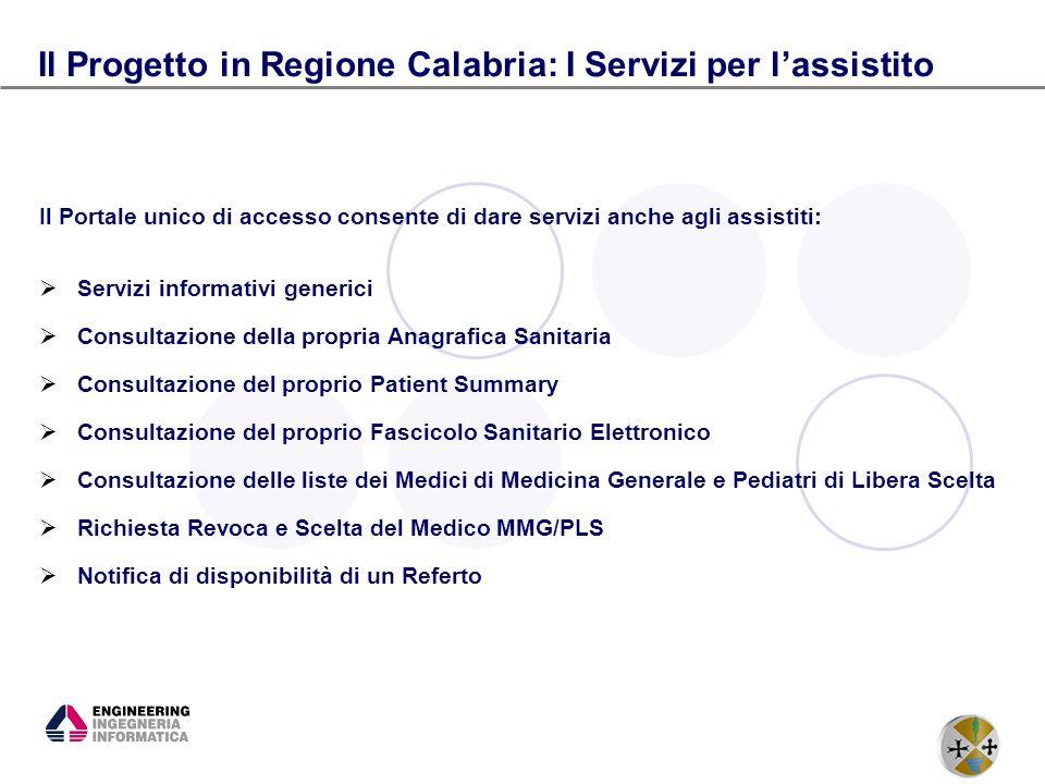 Il Progetto in Regione Calabria: I Servizi per l'assistito