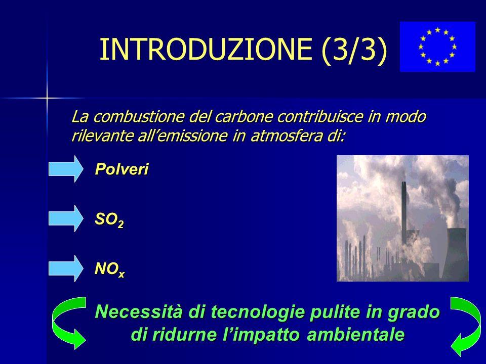 INTRODUZIONE (3/3) La combustione del carbone contribuisce in modo rilevante all'emissione in atmosfera di: