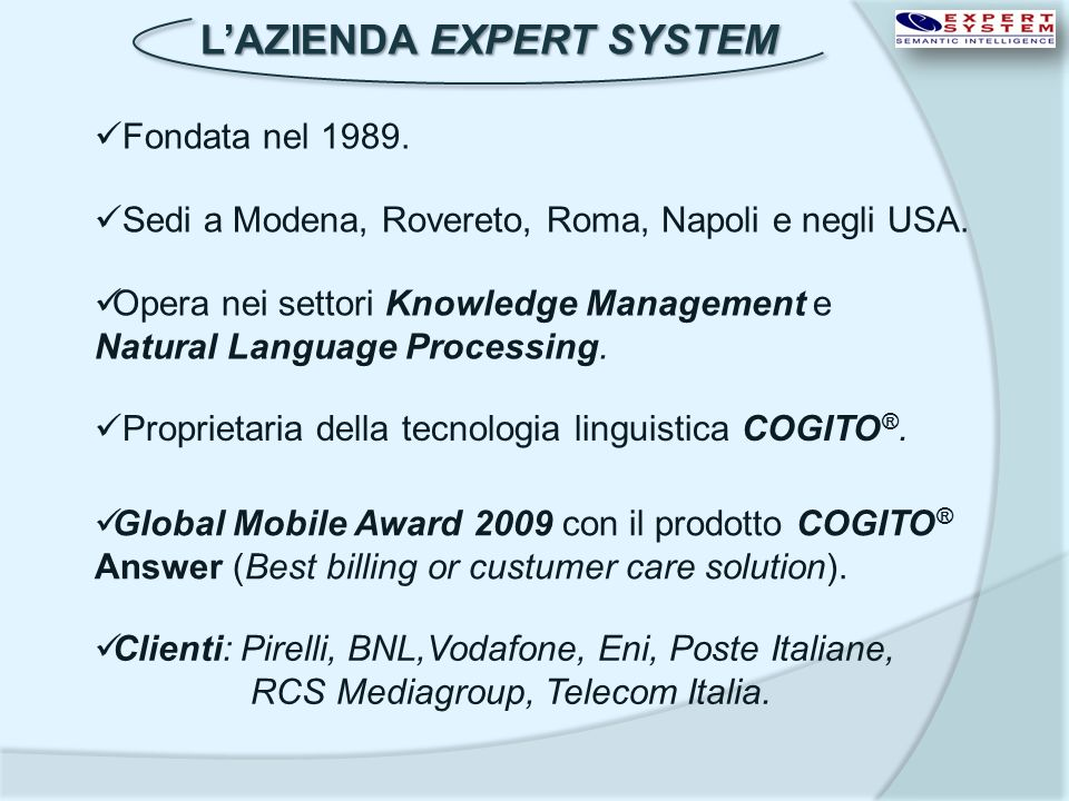 L'AZIENDA EXPERT SYSTEM