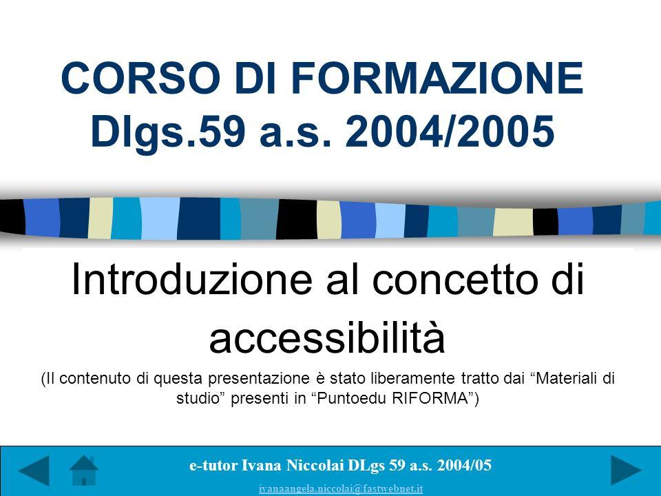CORSO DI FORMAZIONE Dlgs.59 a.s. 2004/2005