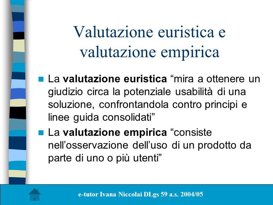 Valutazione euristica e valutazione empirica