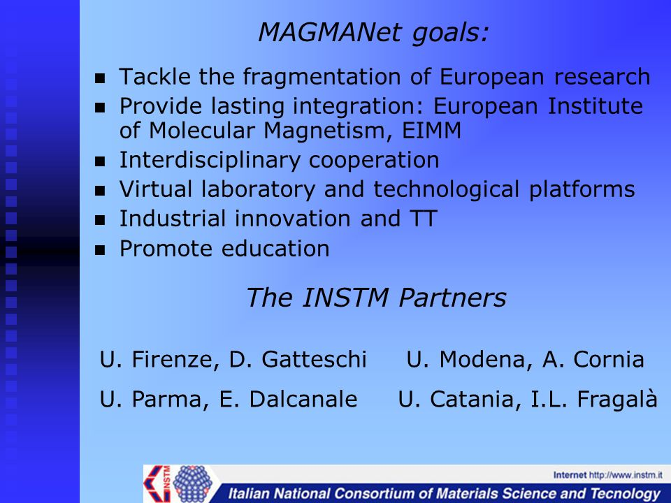 MAGMANet goals: The INSTM Partners