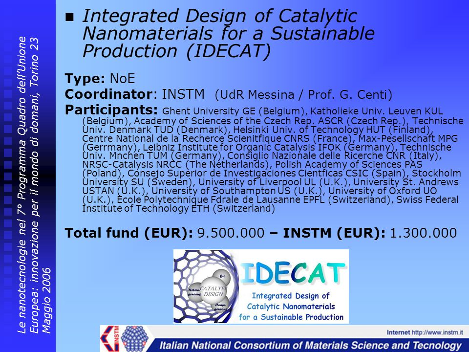 Integrated Design of Catalytic Nanomaterials for a Sustainable Production (IDECAT)