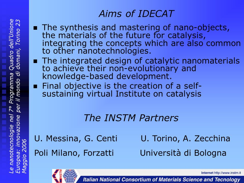 Aims of IDECAT The INSTM Partners