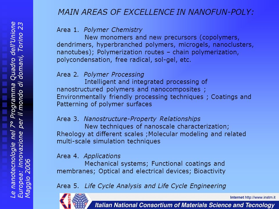 MAIN AREAS OF EXCELLENCE IN NANOFUN-POLY: