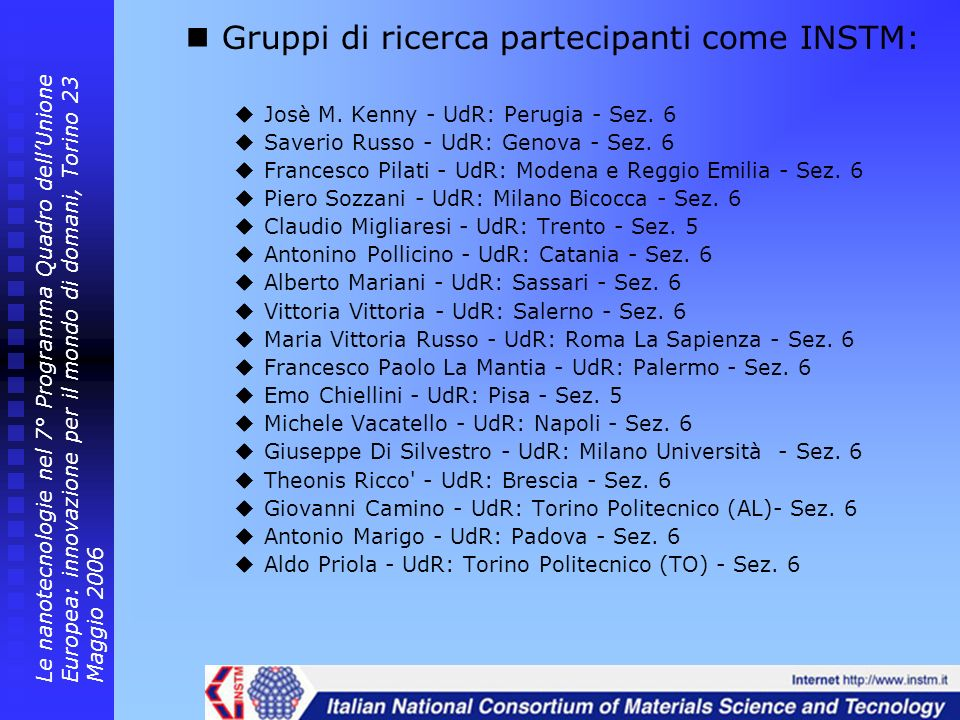 Gruppi di ricerca partecipanti come INSTM: