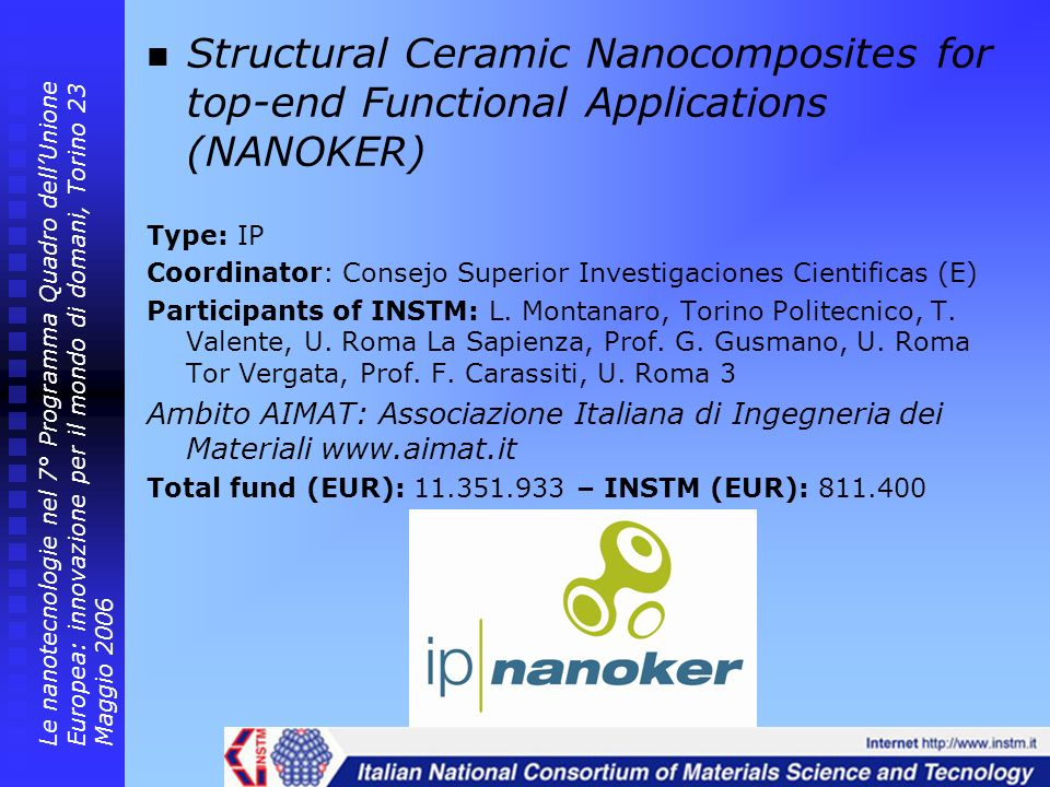 Structural Ceramic Nanocomposites for top-end Functional Applications (NANOKER)