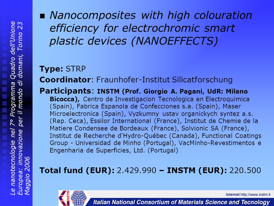 Nanocomposites with high colouration efficiency for electrochromic smart plastic devices (NANOEFFECTS)