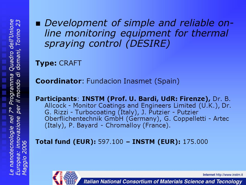 Development of simple and reliable on-line monitoring equipment for thermal spraying control (DESIRE)