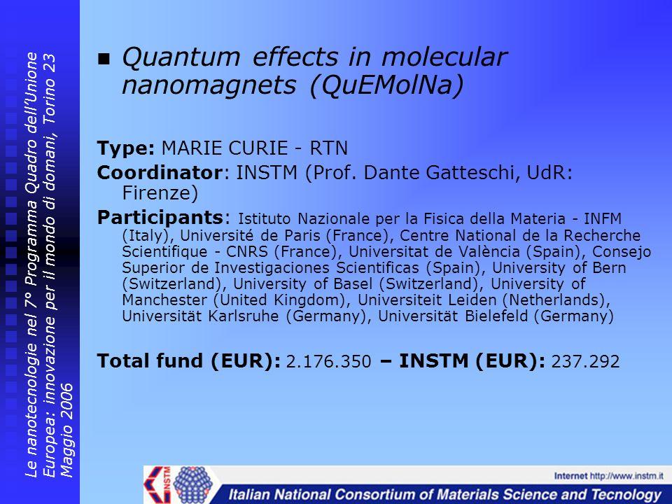 Quantum effects in molecular nanomagnets (QuEMolNa)