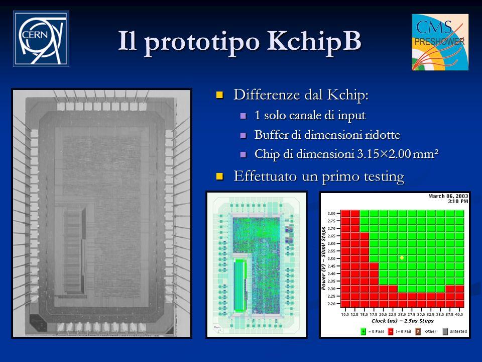 Il prototipo KchipB Differenze dal Kchip: Effettuato un primo testing