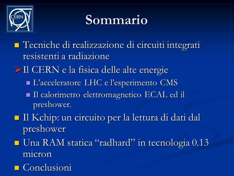 Sommario Tecniche di realizzazione di circuiti integrati resistenti a radiazione. Il CERN e la fisica delle alte energie.