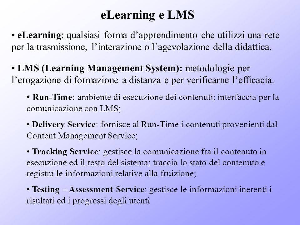 eLearning e LMS eLearning: qualsiasi forma d'apprendimento che utilizzi una rete per la trasmissione, l'interazione o l'agevolazione della didattica.