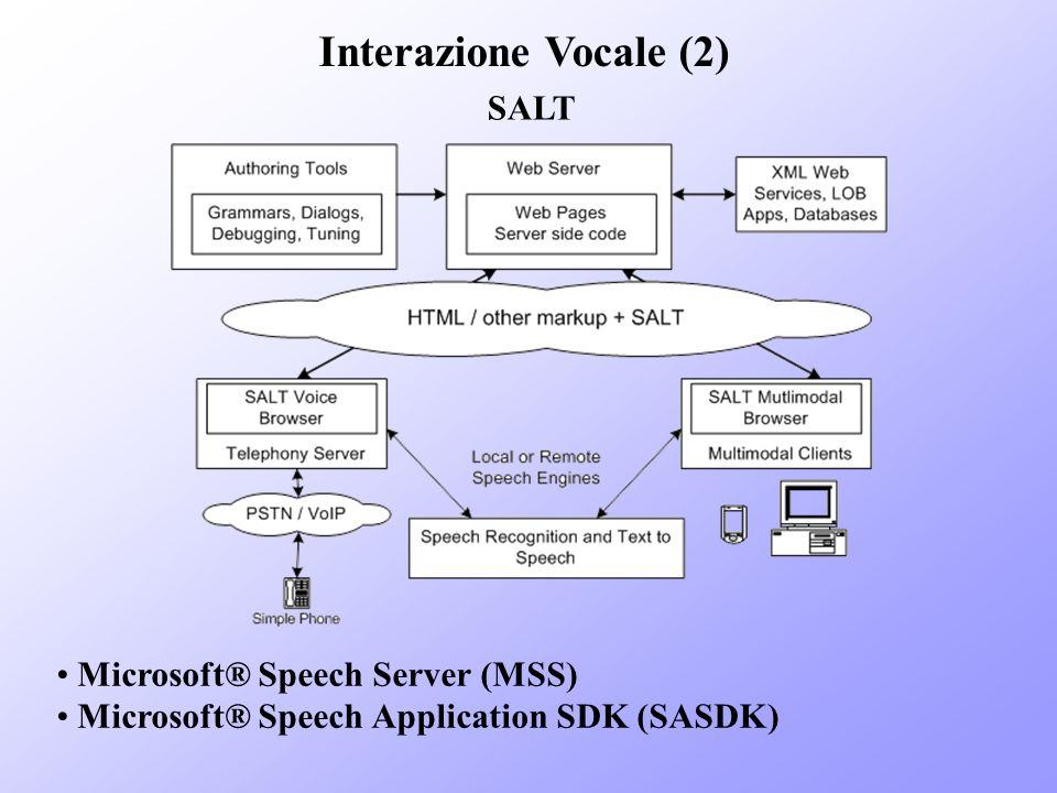 Interazione Vocale (2) SALT Microsoft® Speech Server (MSS)