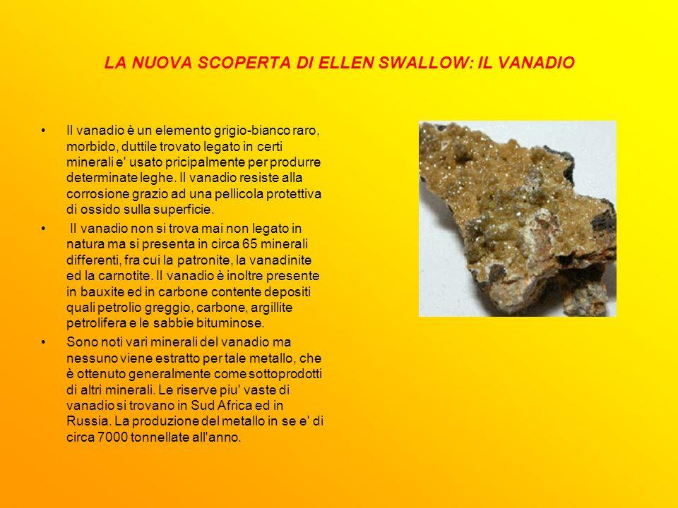 LA NUOVA SCOPERTA DI ELLEN SWALLOW: IL VANADIO