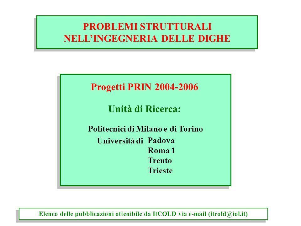 NELL'INGEGNERIA DELLE DIGHE Politecnici di Milano e di Torino