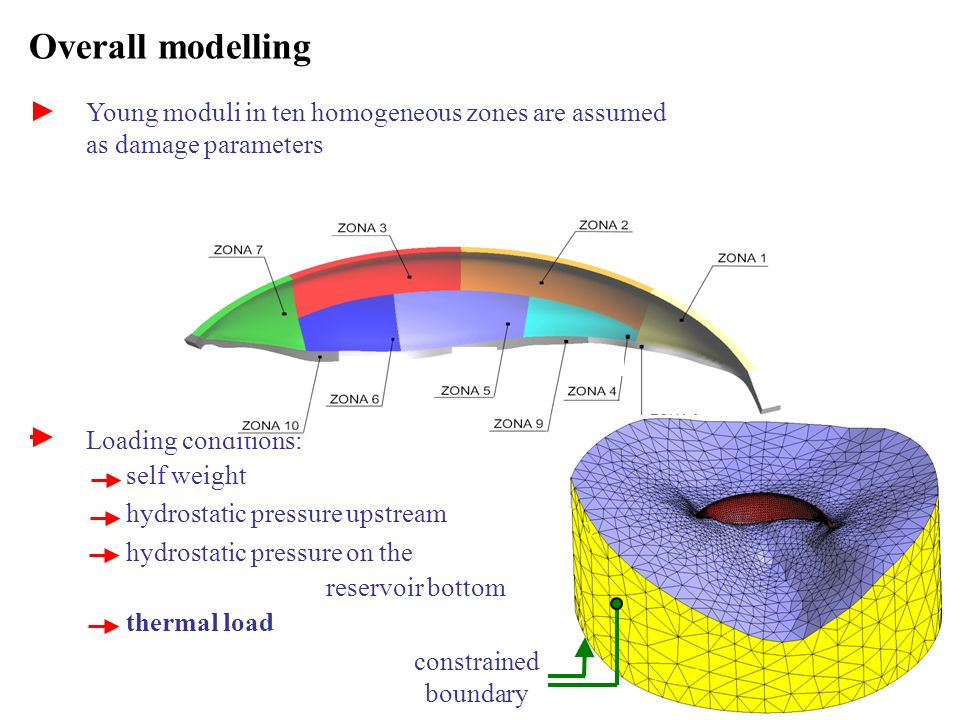 Overall modelling Young moduli in ten homogeneous zones are assumed