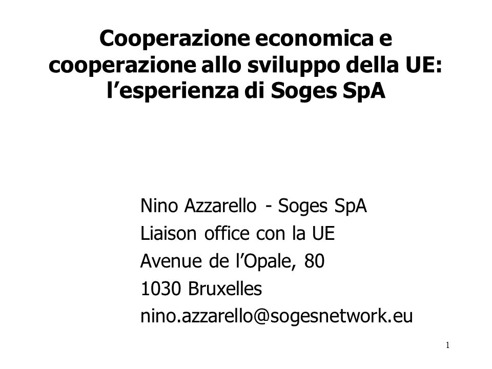 Cooperazione economica e cooperazione allo sviluppo della UE: l'esperienza di Soges SpA