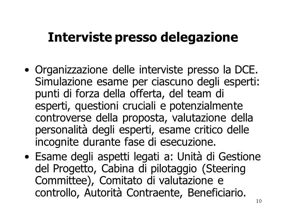 Interviste presso delegazione