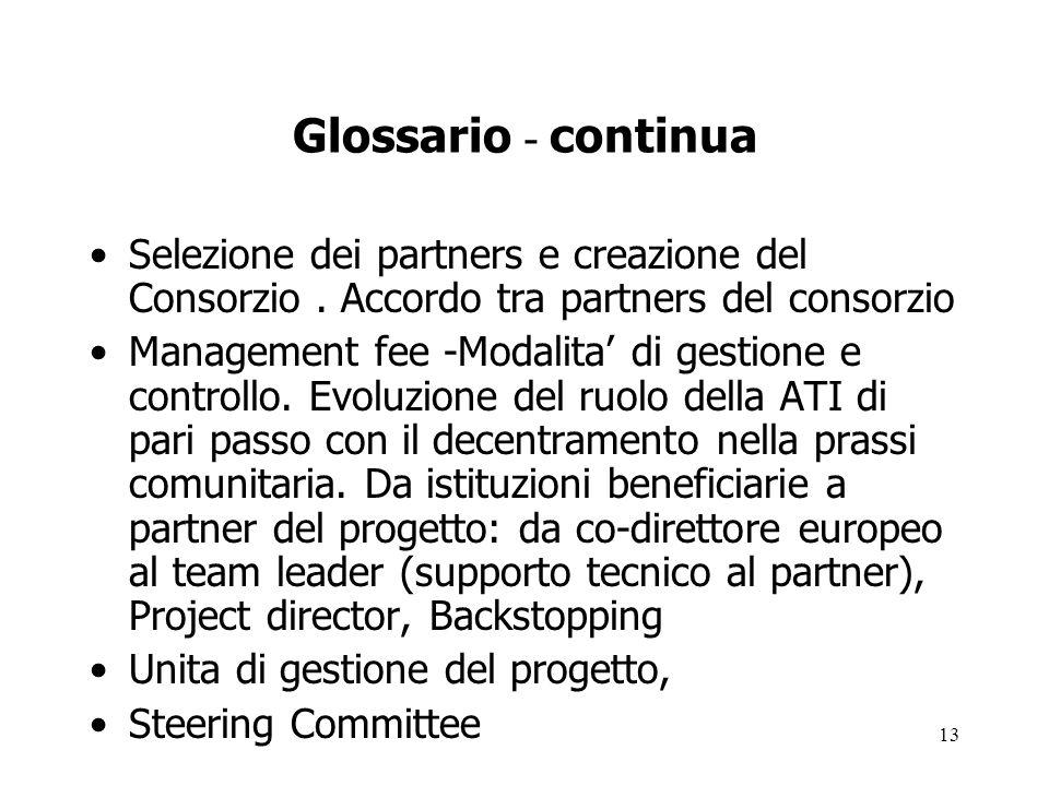 Glossario - continua Selezione dei partners e creazione del Consorzio . Accordo tra partners del consorzio.