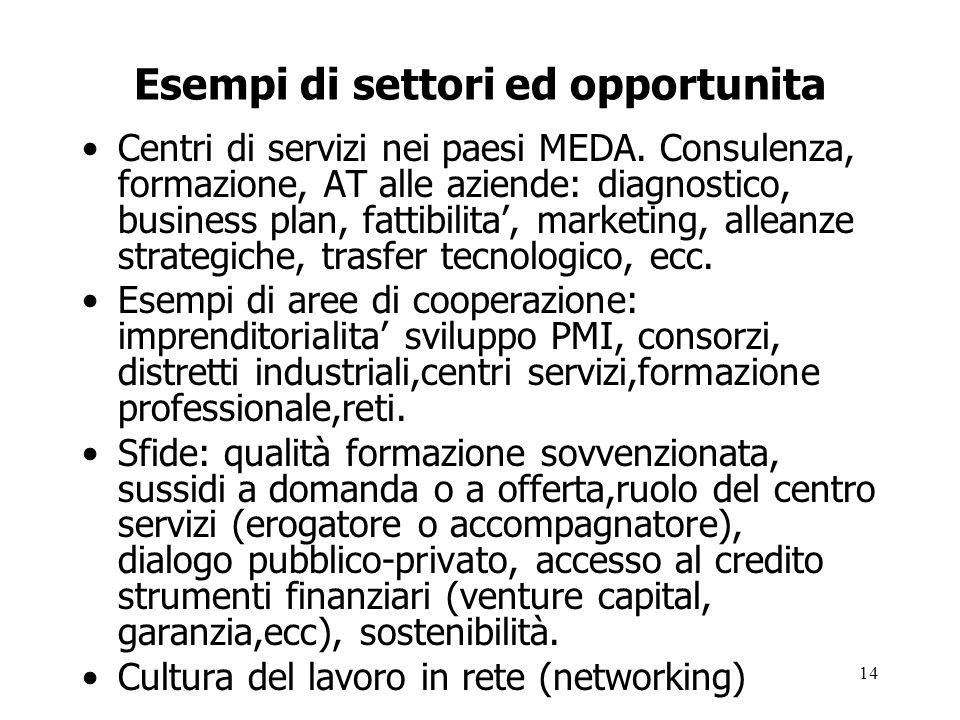 Esempi di settori ed opportunita