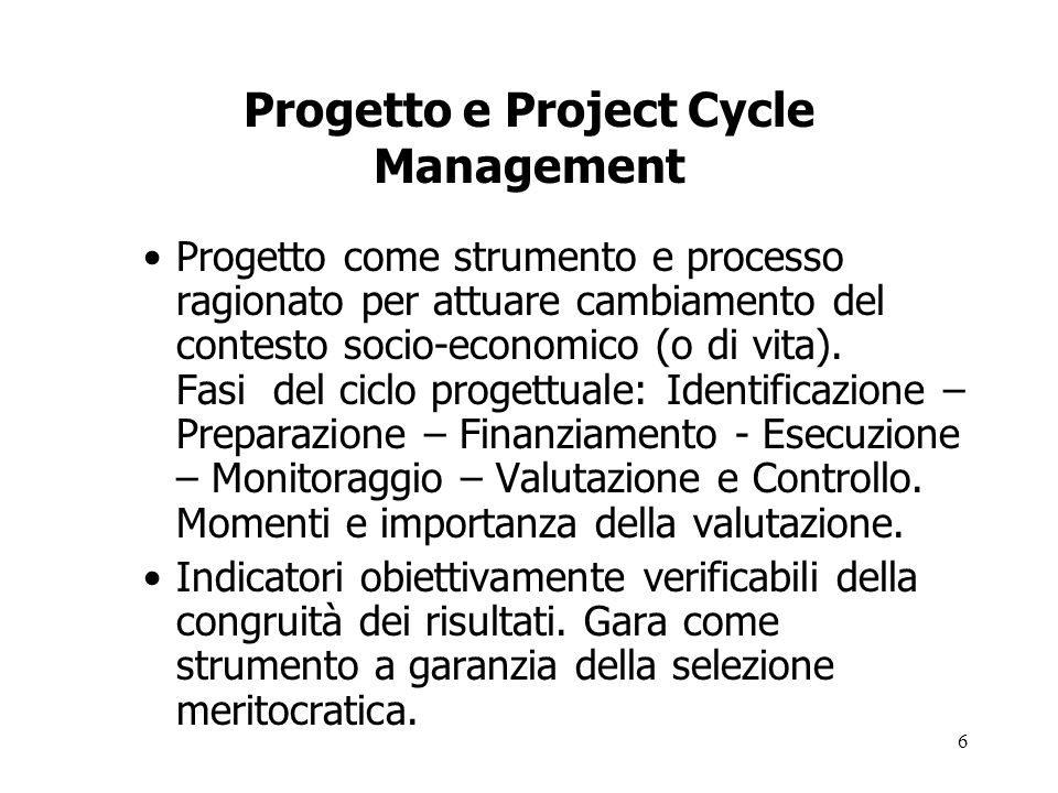 Progetto e Project Cycle Management