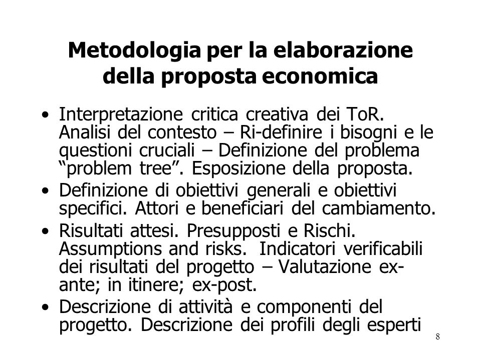Metodologia per la elaborazione della proposta economica