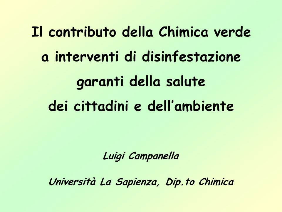 Università La Sapienza, Dip.to Chimica