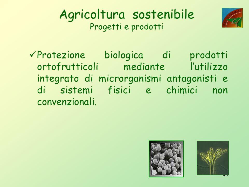 Agricoltura sostenibile Progetti e prodotti