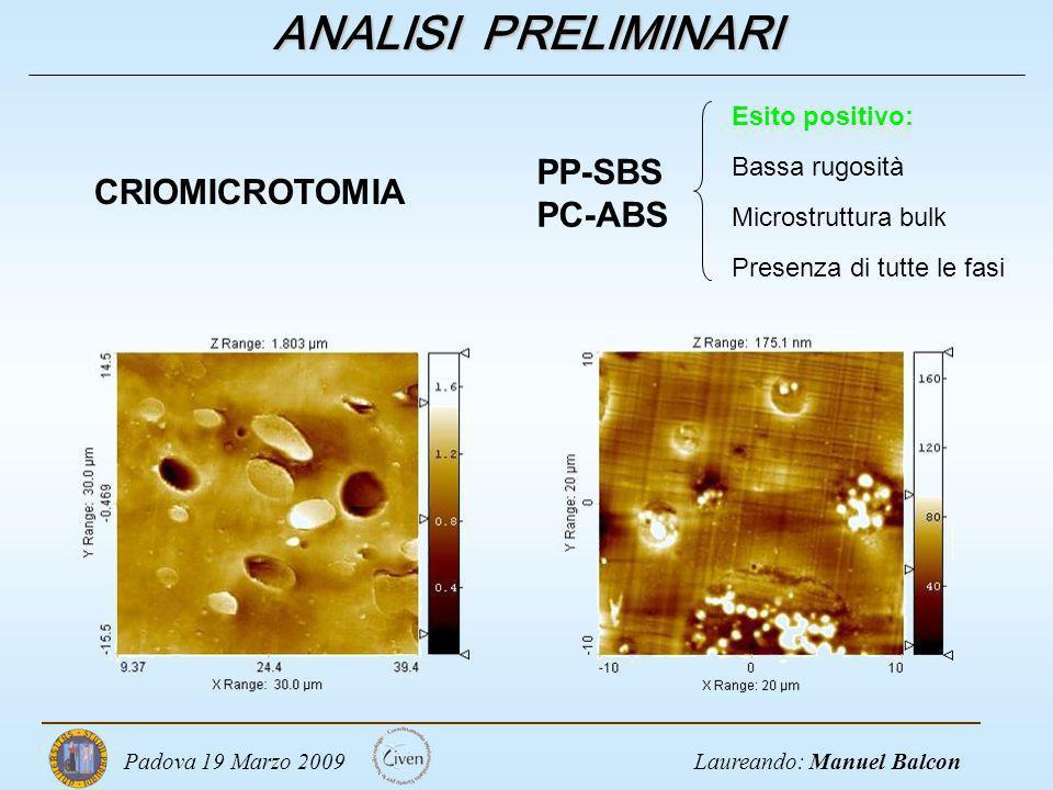 ANALISI PRELIMINARI PP-SBS CRIOMICROTOMIA PC-ABS Esito positivo:
