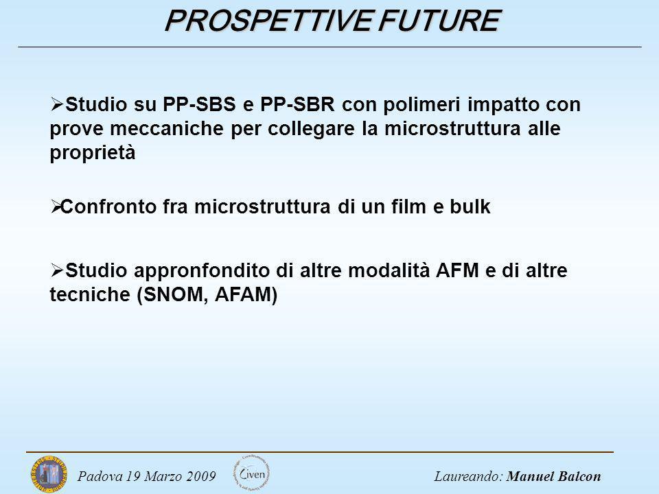 PROSPETTIVE FUTURE Studio su PP-SBS e PP-SBR con polimeri impatto con prove meccaniche per collegare la microstruttura alle proprietà.