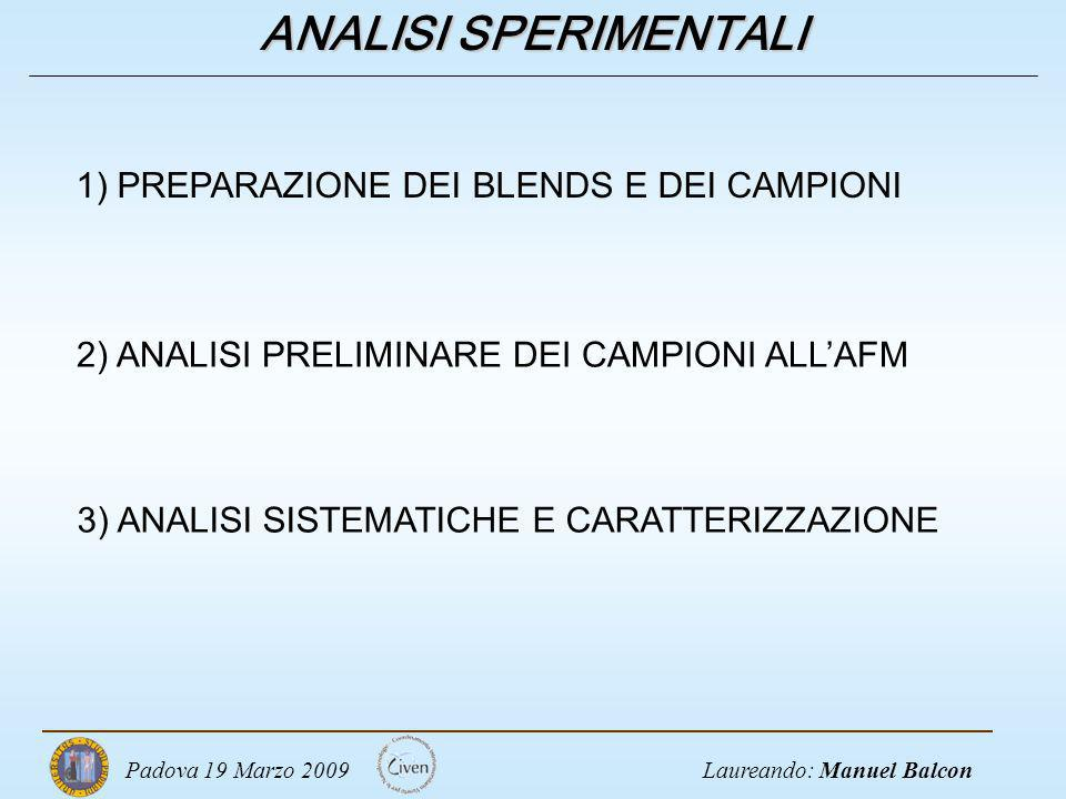 ANALISI SPERIMENTALI 1) PREPARAZIONE DEI BLENDS E DEI CAMPIONI