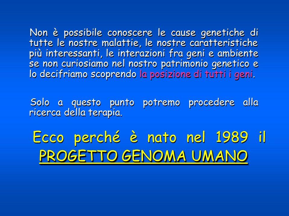 Ecco perché è nato nel 1989 il PROGETTO GENOMA UMANO