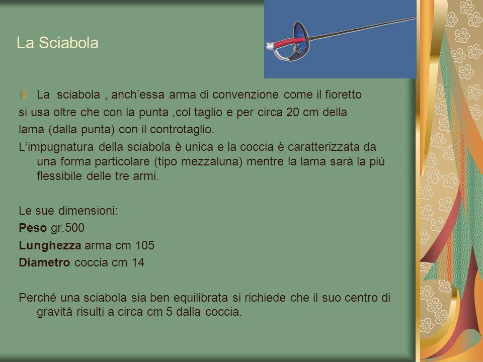 La Sciabola La sciabola , anch'essa arma di convenzione come il fioretto. si usa oltre che con la punta ,col taglio e per circa 20 cm della.