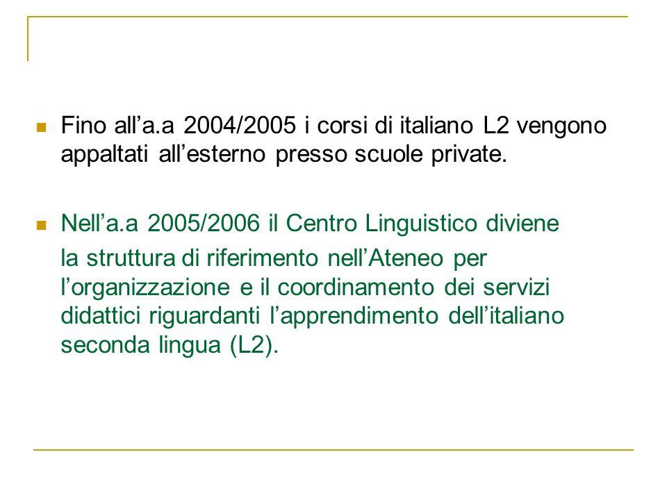 Fino all'a.a 2004/2005 i corsi di italiano L2 vengono appaltati all'esterno presso scuole private.