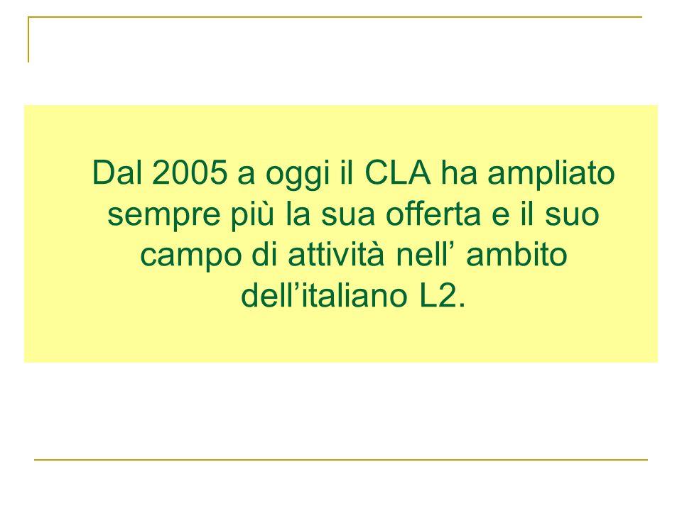 Dal 2005 a oggi il CLA ha ampliato sempre più la sua offerta e il suo campo di attività nell' ambito dell'italiano L2.